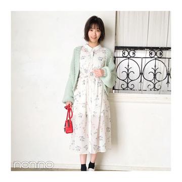 西野七瀬は花柄ワンピ×差し色バッグの上級生コーデ【毎日コーデ】