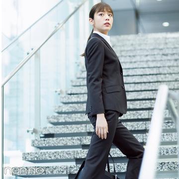 歩いてる姿もキレイ♡ ストレッチ入りスーツでOG訪問!【就活ノンノ★スーツ大研究】