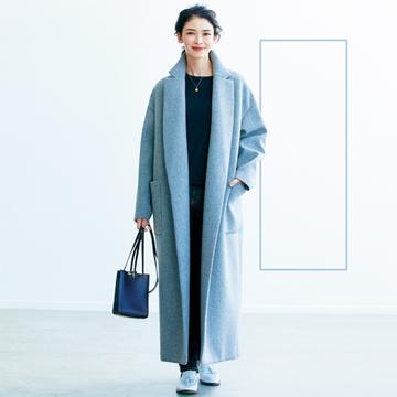 【50代の小柄さんコーデ術】ボリュームある冬服は「長方形」を意識してスッキリ見せる!