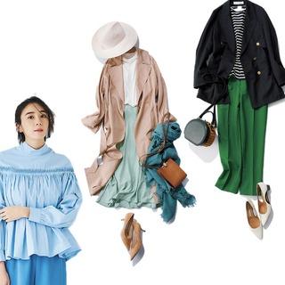 トレンチコート、ビビッドカラー、ブラウス、トレンドを投入した春の最旬コーデまとめ|40代 ファッション