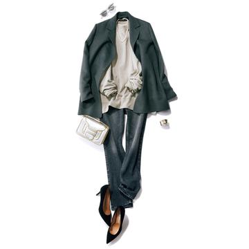 【夏から秋への着回し6】スウェット×デニムのシンプルコーデはジャケットで格上げ