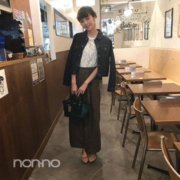 鈴木優華はグレンチェックのワイドパンツをちょい甘仕上げ♡ 【毎日コーデ】