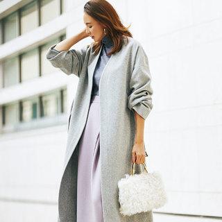 """真冬のクローゼットの強い味方「着流しロングコート」はバッグと靴で """"味変""""を楽しむ!"""