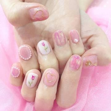 Vol.42♡ お花×ピンクの春ネイル❤︎