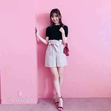 江野沢愛美はピンクのショーパンを黒で引き締め【毎日コーデ】