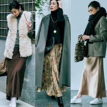 50代を素敵に見せる「冬の揺れスカート」で女らしく、かっこよく!