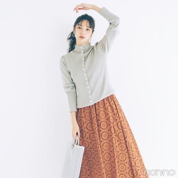 新川優愛はレースのスカートでちょっぴりレトロな春コーデ【毎日コーデ】