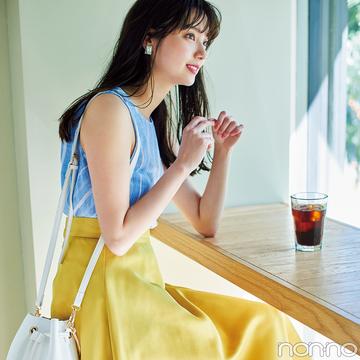 新川優愛が着回す! この夏絶対欲しいイエローのフレアスカート★