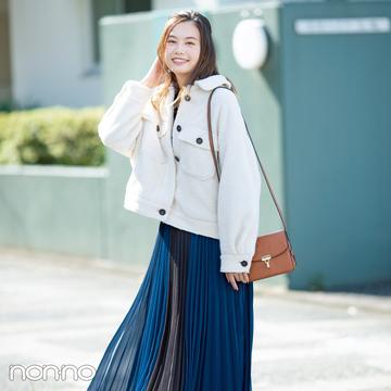 ショート丈のコートとバランスがよくて今っぽいのはこのスカート!