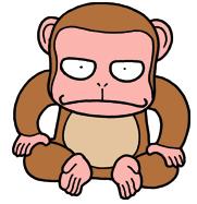 どっしりとした猿